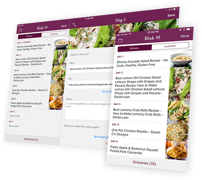 Weekly Chefs - Weekly meal planner, recipes aggregator & groceries lists for buddies